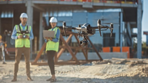 inspection drone on construction site